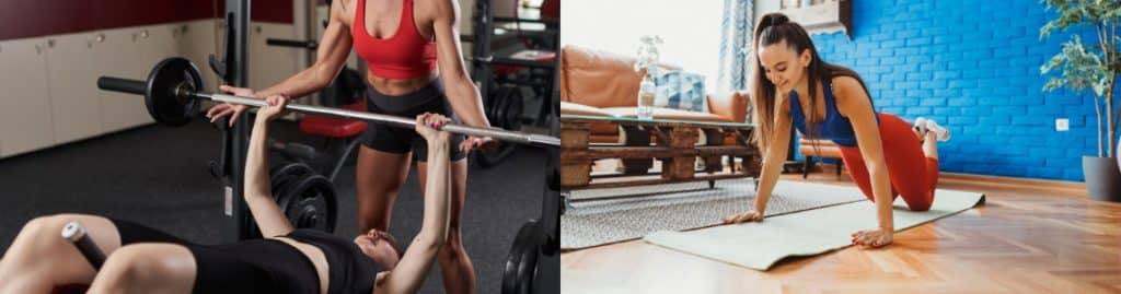 Training at a gym vs. exercising outside or at home